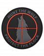 Hunt the Wolf, Protect the Flock Black Velcro Patch